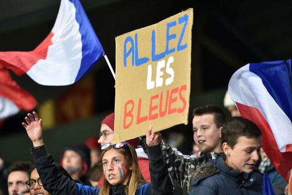 Des supporters des bleues lors du match amical France-Japon à Auxerre le 4 avril 2019.