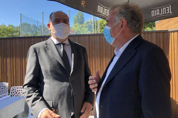 Le Premier ministre Jean Castex et le pmaire de PauFrançois Bayrou dans les Landes aux journées parlementaires du Modem - mardi 8 septembre 2020 -
