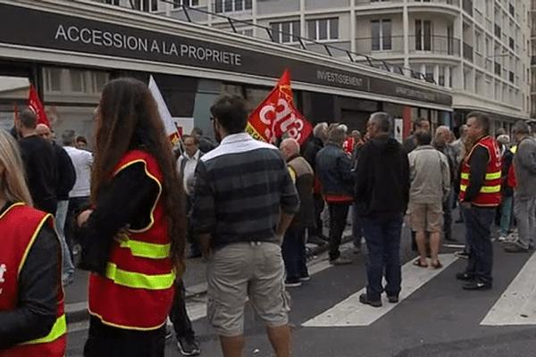 Manifestation de soutien au secrétaire de l'union locale de la CGT à Caen