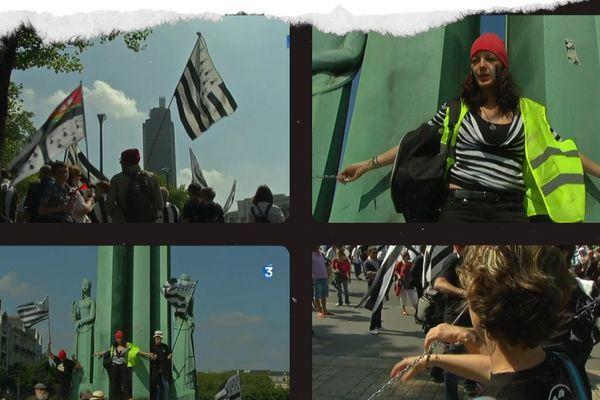 Les Bonnets Rouges enchaînés au monument des 50 otages et au grille de la Préfecture pour réclamer le rattachement de la Loire Atlantique à la région Bretagne.