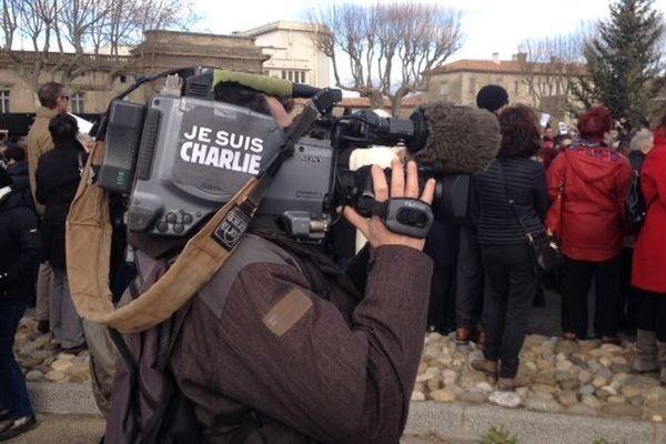 Carcassonne - un Charlie journaliste, au travail  - 11 janvier 2015.