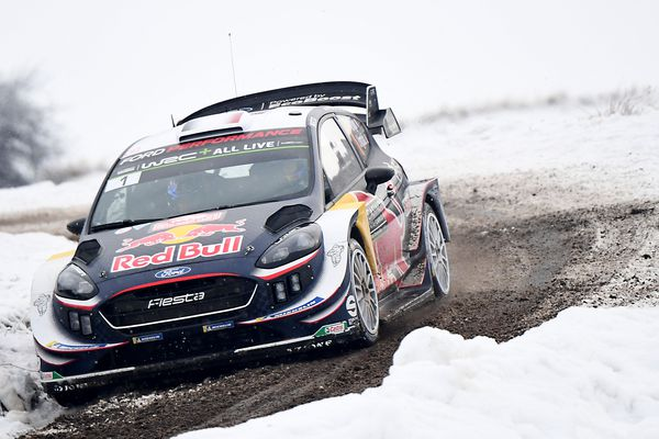 La voiture de Sébastien Ogier et Julien Ingrassia lors du rallye Monte-Carlo, le 27 janvier 2018