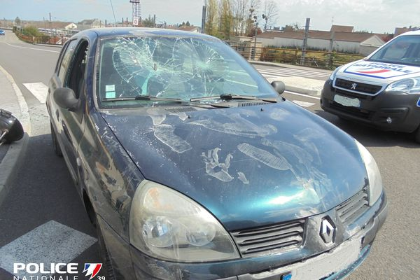 The car of the 72-year-old man arrested by the police following a violent racist attack.