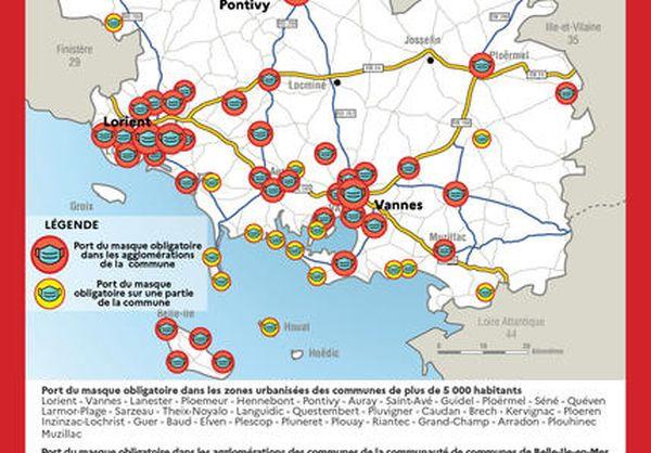 Carte des communes où le port du masque devient obligatoire, par arrêté préfectoral, jusqu'au 19 février 2021.