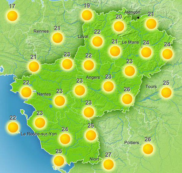 Copie d'écran des prévisions de meteofrance.com pour l'après-midi du 7 juin 2015
