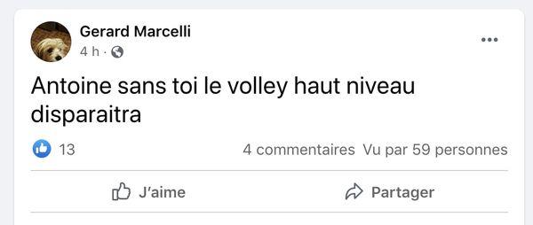 """Message posté sur la page Facebook """"Fan Club Antoine EXIGA !!"""""""