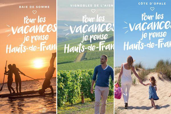 """Trois des affiches de la campagne """"Pour les vacances, je pense Hauts-de-France"""""""