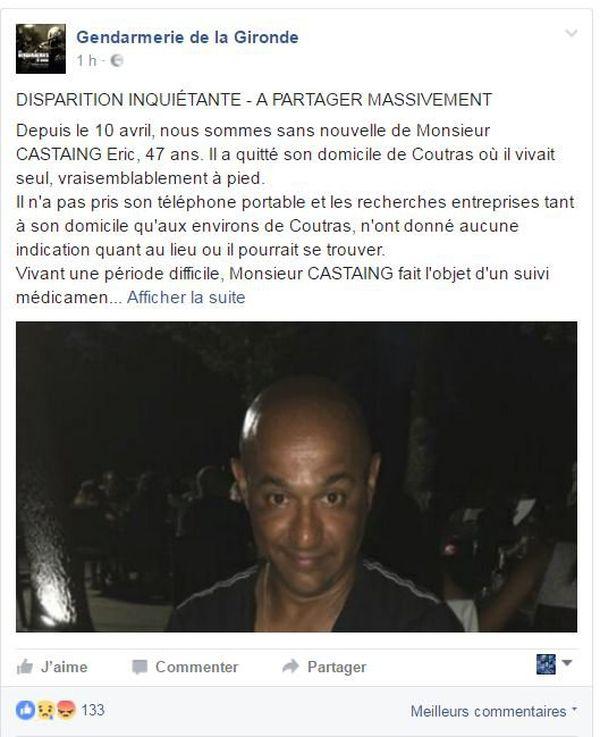 la gendarmerie de la Gironde a lancé un appel à témoin sur sa page Facebook.