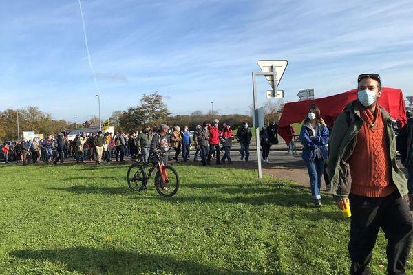 La précédente manifestation contre l'implantation d'Amazon à Montbert le 17 novembre dernier.