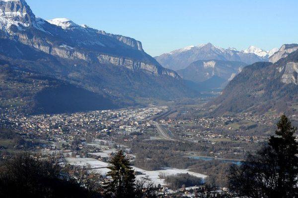 La vallée de l'Arve le 7 janvier 2015, lors d'un épisode de pic de pollution.