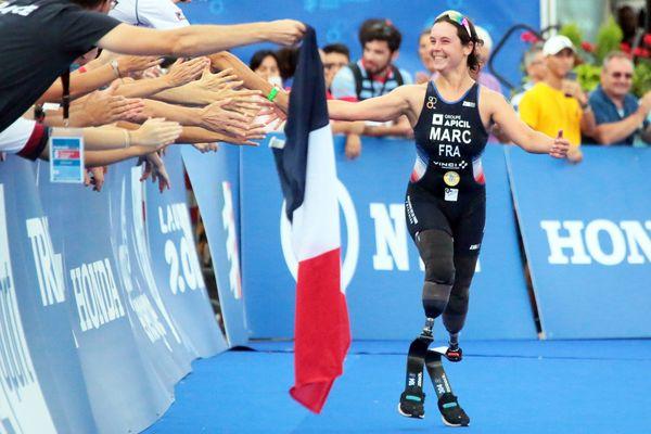 Elise Marc est devenue championne du monde de paratriathlon à Lausanne, le 30 août 2019