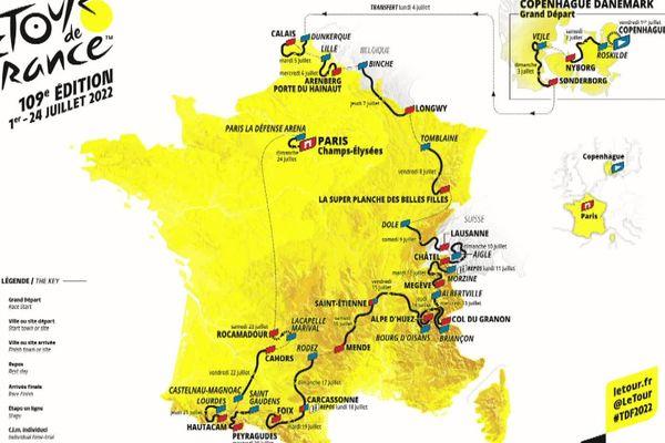 Carte du Tour de France masculin 2022