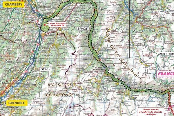 """Longue de 190 km, la ligne électrique """"Savoie-Piémont"""" reliera le poste électrique de Piossasco, près de Turin, à celui  de Grande-Ile en Savoie"""
