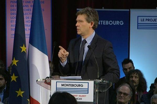 Arnaud Montebourg en meeting à Blanzy, ce samedi 7 janvier 2017.