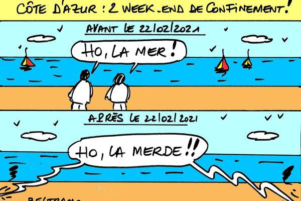 Le dessinateur Jean-Jacques Beltramo croque le confinement des Alpes-Maritimes ce 24 février.
