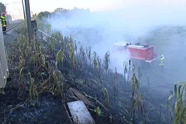 Incendie le long de la ligne SNCF