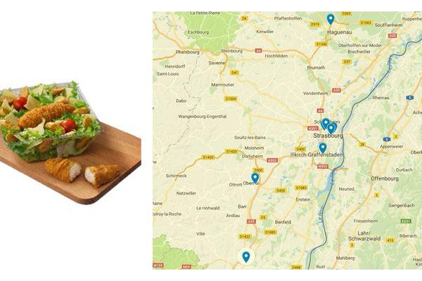 Chicken Caesar contaminés à la listeria dans 8 restaurants Mc Donald's du Bas-Rhin entre le 9 et le 14 juillet 2018