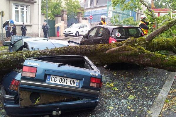 Une voiture écrasée par un arbre rue Ernest Ruben à Limoges