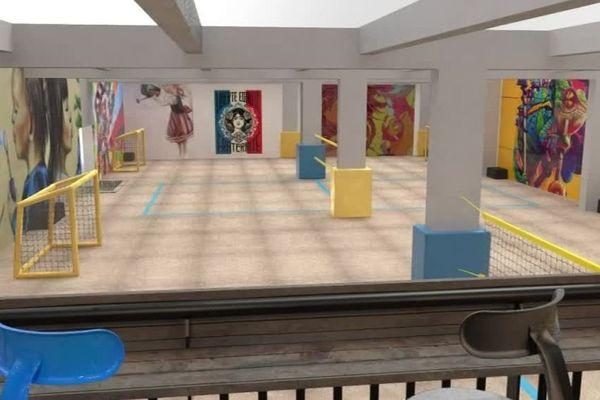 La salle, entièrement couverte de sable, contiendra 5 terrains adaptés aux sports de plage.