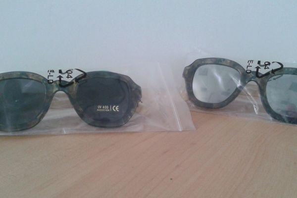 Deux modèles de lunettes de soleil présentant une dangerosité pour les consommateurs.