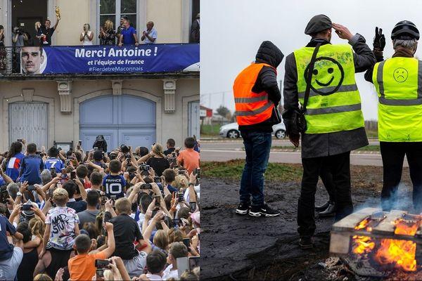 Photo de gauche : Pour célébrer sa victoire, Antoine Griezmann est revenu sur ses terres, à Mâcon, le 20 juillet 2018 Photo de droite : Des gilets à Montceau-les-Mines, en Saône-et-Loire