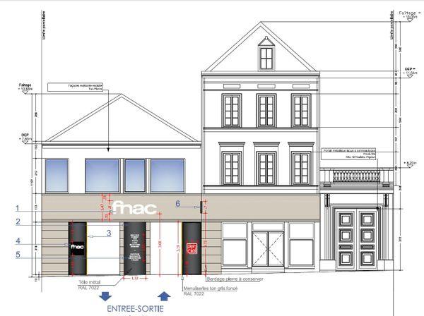 Plan indicatif de la façade du magasin.