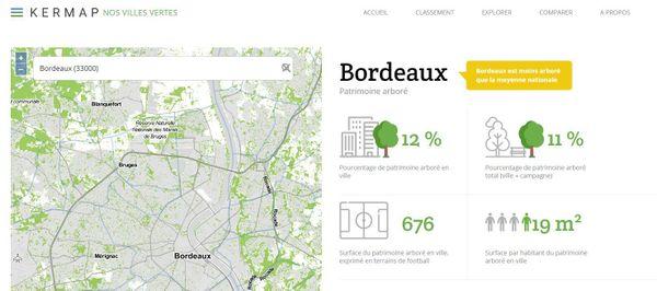 Bordeaux est moins arboré que la moyenne nationale, selon le site Kermap nos villes vertes.