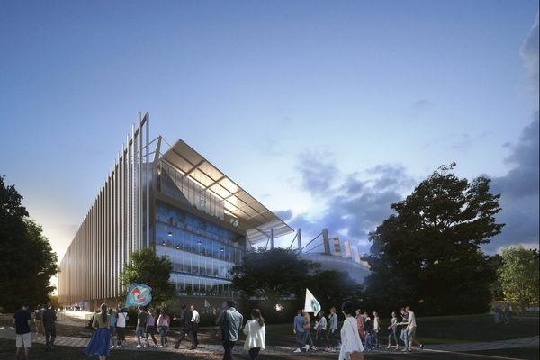 La vue sud-est du futur stade de la Meinau imaginée par le cabinet britannique Populous.