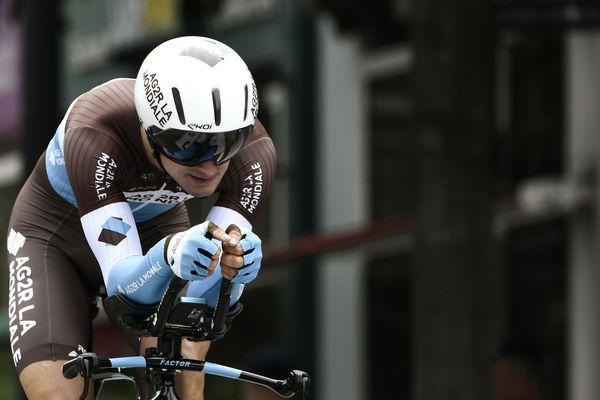 Alexis Vuillermoz en juin 2018, lors de la 70ème édition du Critérium du Dauphiné, près de  Valence.