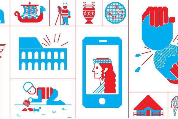 Pictogrammes représentant le milieu de l'archéologie. Extrait de l'affiche des Journées Nationales de l'Archéologie 2018.