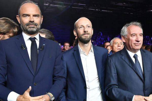 Edouard Philippe, le Premier ministre, Stanislas Guerini, le chef de LREM et François Bayrou, président du MoDem au Campus des territoires à Bordeaux ce 8 septembre 2019.