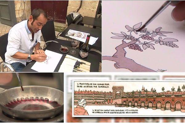 Le Chilien Mauro Ceballos peint son livre avec du cabernet franc. Une cuvée spéciale a vu le jour.