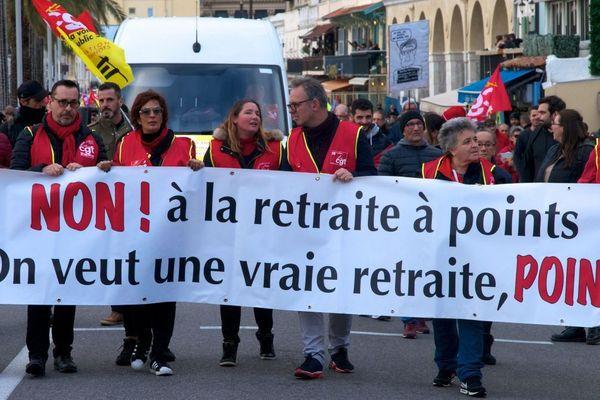 De nombreuses manifestations ont déjà été organisées en France contre la réforme des retraites, comme ici dans les rues de Nice le 28 décembre 2019.