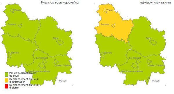 Le seuil d'information et de recommandation est dépassé ce jeudi 20 janvier pour le département de l'Yonne