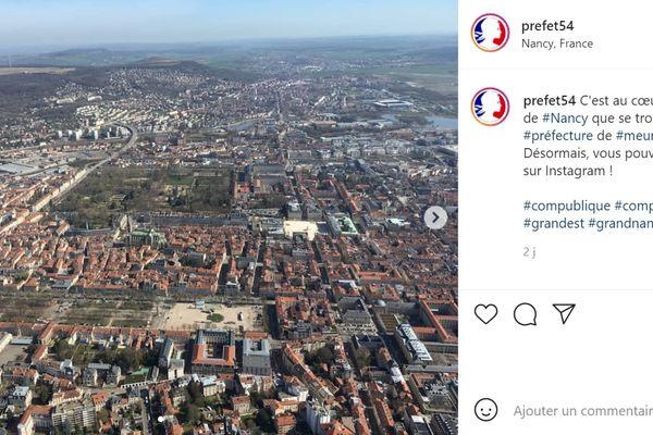 Voici la première publication sur son compte Instagram de la préfecture de Meurthe-et-Moselle.