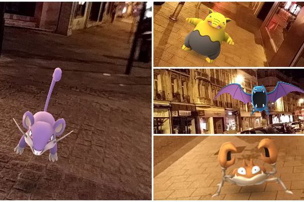 Captures d'écran de l'application Pokemon Go dans les rue de Reims.