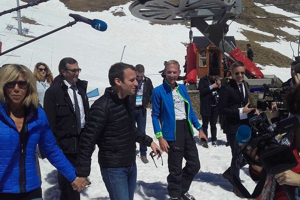 Emmanuel Macron en campagne au Grand Tourmalet.