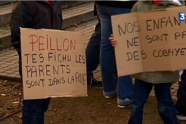 Quelques centaines de manifestants contre la réforme Peillon sur les rythmes scolaires.