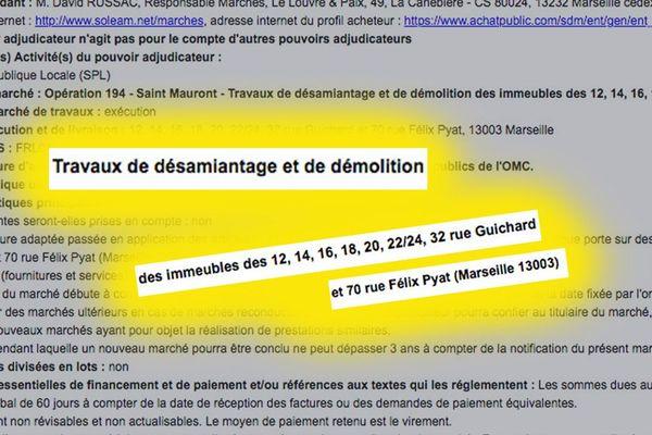 Opération Saint Mauront pour désamiantage et démolition autour de l'école Félix Pyat à Marseille - site des achats publics.
