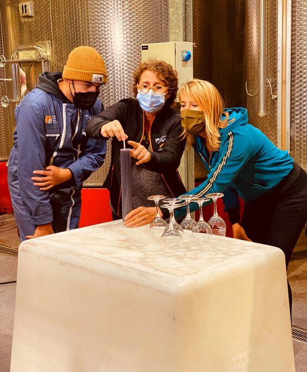 Nathalie Simon découvre le processus de fabrication de vins renommés au lycée viticole Château Mongin d'Orange.