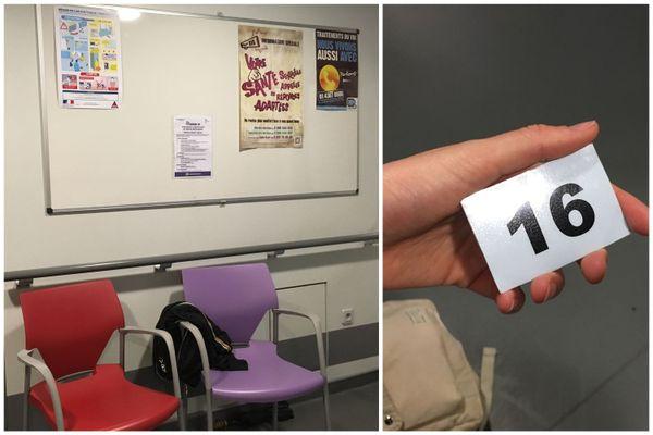La salle d'attente du centre de dépistage.