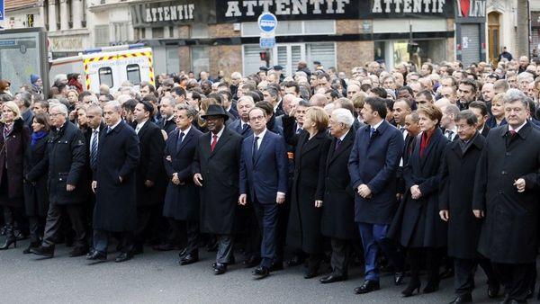 44 chefs d'Etats ont participé à cette marche républicaine dimanche 11 janvier 2015 à Paris.