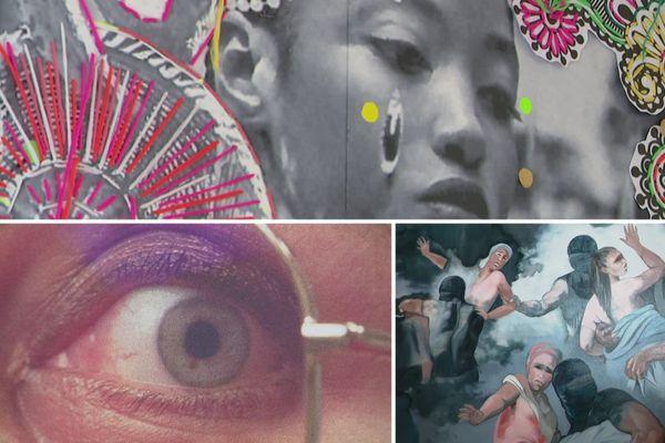 Trois créatrices donnent leurs visions contemporaines à cette exposition consacré au féminin. En haut: LilyLuciole, en bas gauche, Mélanie Dornier et en bas droite Alexandrine Deshayes