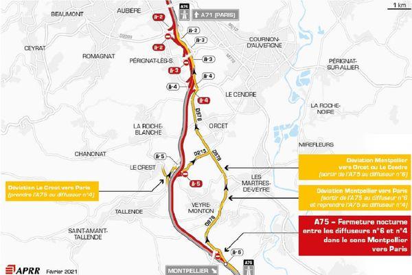 La circulation sera déviée la nuit du 18 février sur l'A75 près de Clermont-Ferrand.