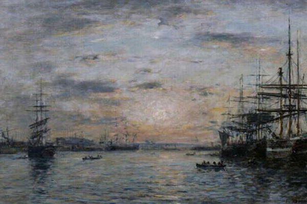 Bassin de l'Eure au Havre ,Eugène Boudin, 1885 Peinture à l'huile sur toile
