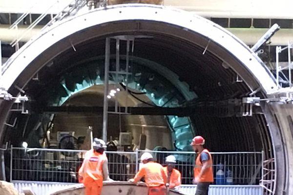 La future station Mairie d'Aubervilliers toujours en chantier sur le prolongement de la ligne 12.