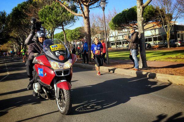 Fabrice Bidault au 40e kilomètre sur le marathon de La Rochelle en 2017