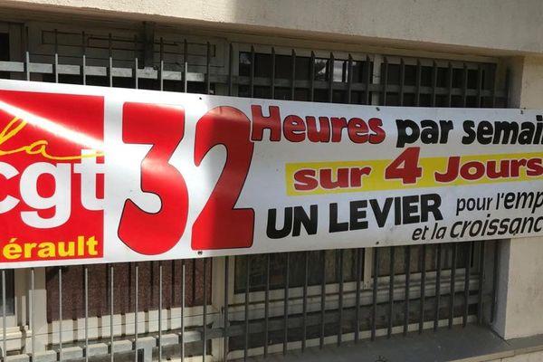 Montpellier - une banderole devant la maison des syndicats - 1er mai 2020.