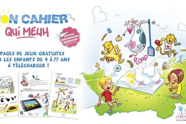 """Le cahier d'activités de la """"Vache qui Meuh"""" spécial confinement pour 4/77 ans"""