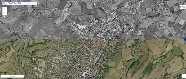 La ville d'Aurillac dans le Cantal de 1956 à nos jours.